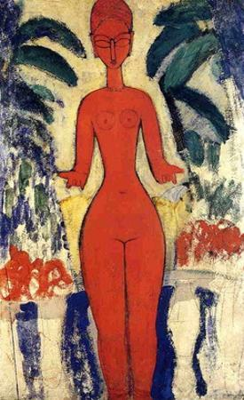 Standing Nude, 1913 (Oil on Board) by Amedeo Modigliani