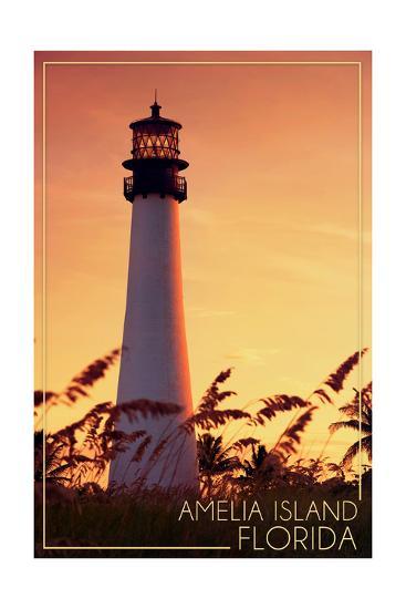 Amelia Island, Florida - Lighthouse and Seagrass-Lantern Press-Art Print