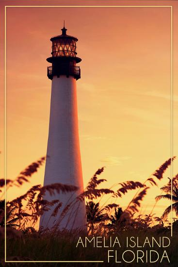 Amelia Island, Florida - Lighthouse and Seagrass-Lantern Press-Wall Mural