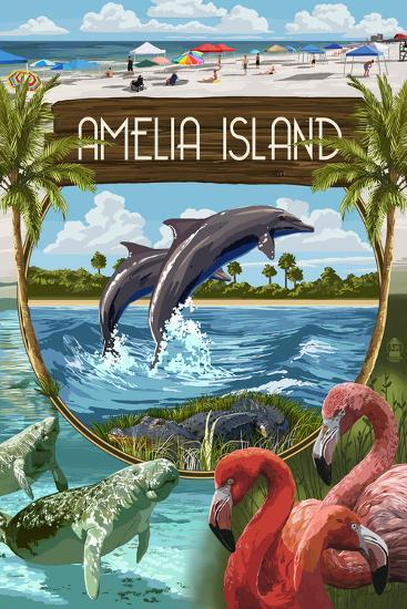 Amelia Island, Florida - Montage-Lantern Press-Art Print