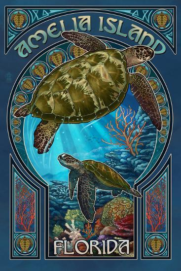 Amelia Island, Florida - Sea Turtle Art Nouveau-Lantern Press-Wall Mural