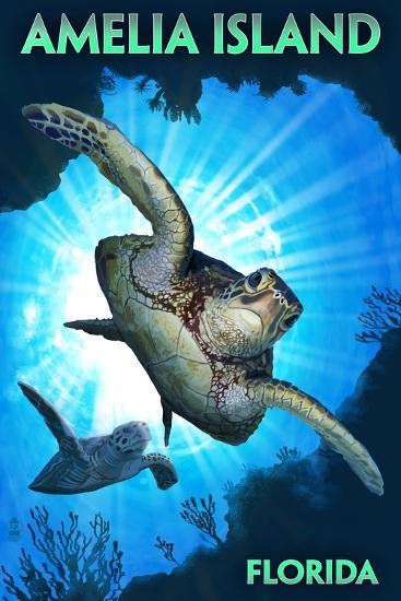 Amelia Island, Florida - Sea Turtle Diving-Lantern Press-Wall Mural