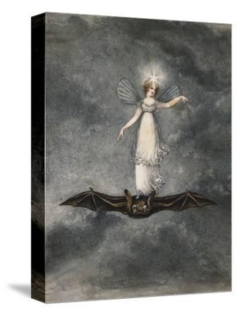 A Fairy Holding a Wand Standing on a Bat
