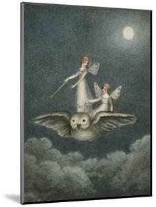 Two Fairies Standing on the Back of an Owl Beneath a Moon by Amelia Jane Murray