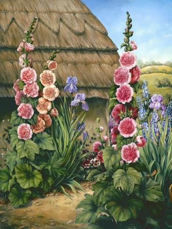 Cottage Garden with Hollyhocks, 1995