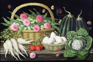 Eggs, Broad Beans and Roses in Basket, 1995 by Amelia Kleiser
