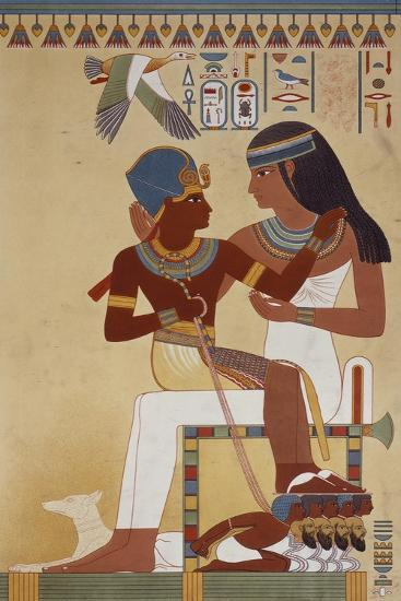 Amenhotep II and His Housekeeper, Copy of a Fresco Dating Back to 18th Dynasty Theban--Giclee Print