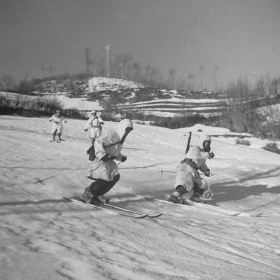 Amer. 10th Mountain Div. Army Ski Patrol, on the Itallian Front in the Appennine Mountains-Margaret Bourke-White-Photographic Print