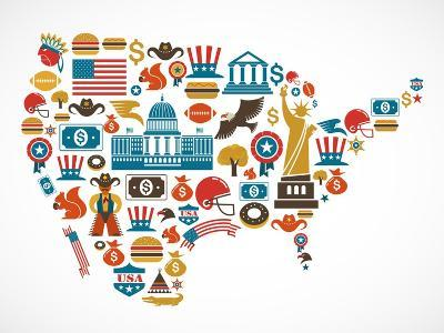 America Map With Many Icons-Marish-Art Print