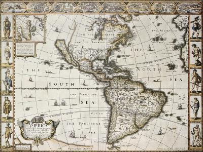 America Old Map With Greenland Insert Map. Created By John Speed. Published In London, 1627-marzolino-Art Print