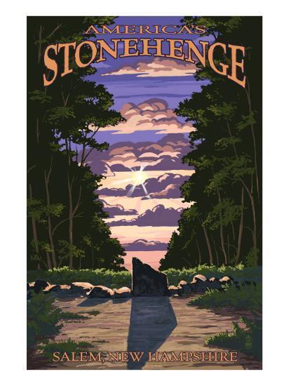 America's Stonehenge, New Hampshire - Sunrise-Lantern Press-Art Print