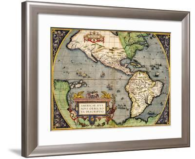 Americae Sive Novi Orbis Nova Descriptio 1592-Abraham Ortelius-Framed Giclee Print
