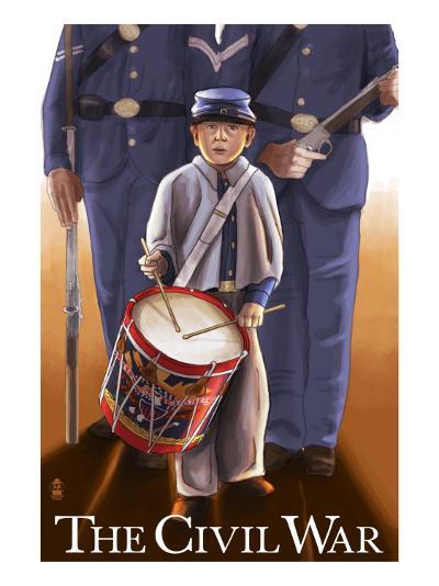 Americam Civil War - Drummer Boy-Lantern Press-Art Print