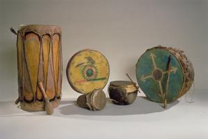 A Collection of American Indian Drums (Mixed Media) by American