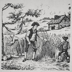 A Family Harvesting Corn (Litho) by American