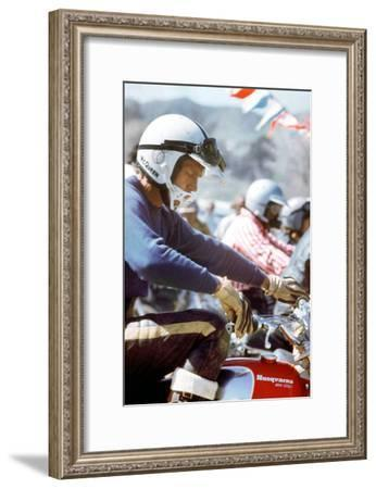 American Actor Steve Mac Queen Taking Part into a Cross Sponsored by Husqvarna C. 1971--Framed Photo