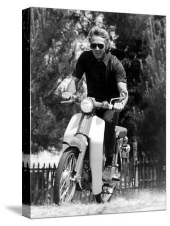 American Actor Steve Mcqueen on a Moto to Prepapre His Film Le Mans, 1969