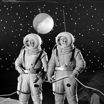 American Actors John Archer (L) and Warner Anderson on Set of 'Destination Moon', 1950-Allan Grant-Photographic Print