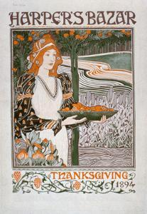 Advertisement for the Thanksgiving Edition of 'Harper's Bazar', 1894 (Colour Litho) by American