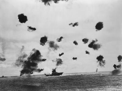 American Aircraft Carrier USS Yorktown Hit by a Japanese Bomb in the Battle of Midway--Photo