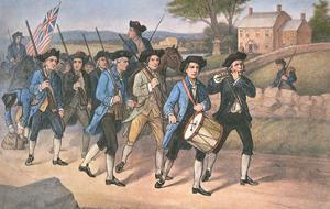 American 'Minute-Men' Marching Against the British to the Martial Music of Fife and Drum by American