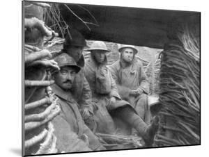 American and French Troops in a Trench at the Front, 1917-1918