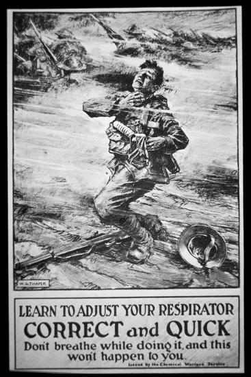 American Army Poster Warning of Gas Attack, 1918-W. G. Thayer-Giclee Print