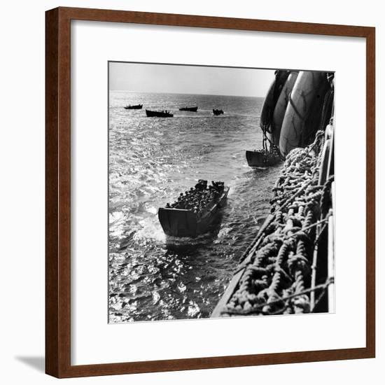 American Army Troops Coming Aboard Apa at Sea for D-Day Allied Invasion of Normandy-Ralph Morse-Framed Photographic Print