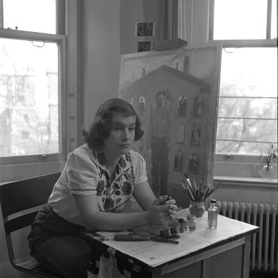 American Artist Honore Desmond Sharrer (1970 - 2009) in Her Studio, February 1950-W^ Eugene Smith-Photographic Print