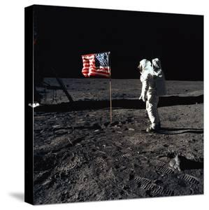 """American Astronaut Edwin """"Buzz"""" Aldrin Walking on the Moon on July 20, 1969"""