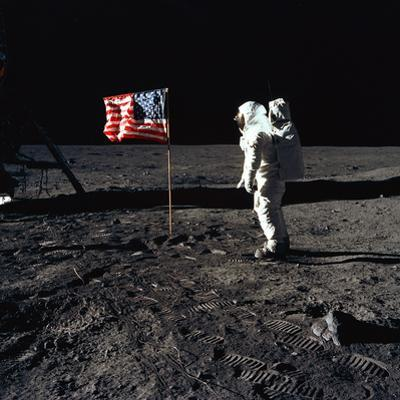 "American Astronaut Edwin ""Buzz"" Aldrin Walking on the Moon on July 20, 1969"