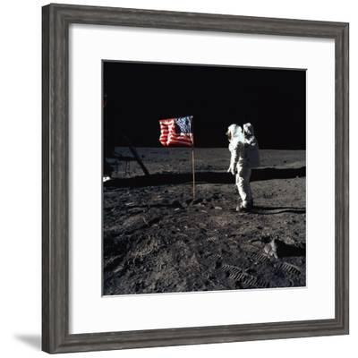 """American Astronaut Edwin """"Buzz"""" Aldrin Walking on the Moon on July 20, 1969--Framed Photo"""