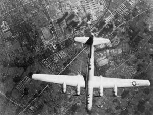 American B-29 Super Fortress Bomber over Nakajima Aircraft Co.