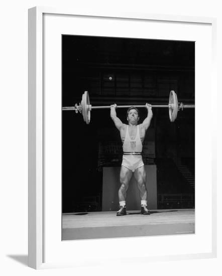 American Bantamweight Joseph Depietro Competing in Weightlifting Event at Summer Olympics-Mark Kauffman-Framed Premium Photographic Print