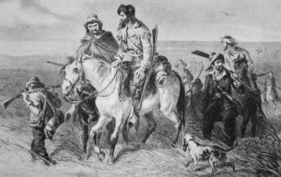 Border Ruffians from Missouri Invading Kansas, 1856 (Etching)