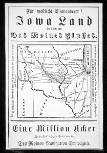 Broadside Published in German by the Des Moines Navigation Company to Attract Immigrants to Iowa by American