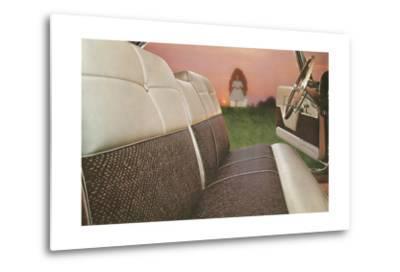 American Car Interior with Saintly Vision--Metal Print