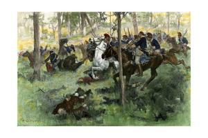 American Cavalry Charge Covering Retreat at the Battle of Hobkirk's Hill, Revolutionary War, 1781