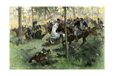 American Cavalry Charge Covering Retreat at the Battle of Hobkirk's Hill, Revolutionary War, 1781--Photographic Print