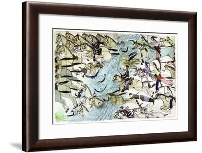 American Cavalry Retreating across a River Pursued by Native American Warriors, C1900--Framed Giclee Print