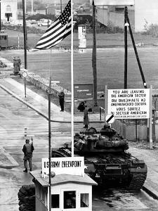 American Checkpoint on the Friedrichstrasse Crossing Point on the East-West Berlin Border