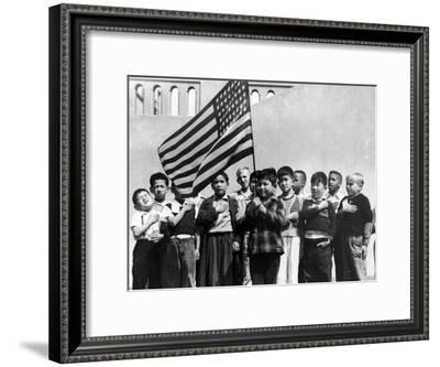 American Children of Japanese, German and Italian Heritage, Pledging Allegiance to the Flag-Dorothea Lange-Framed Premium Photographic Print