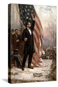 American Civil War Painting of President Abraham Lincoln Holding the American Flag