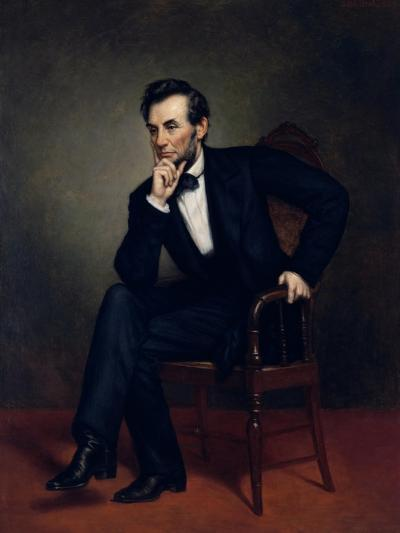 American Civil War Painting of President Abraham Lincoln Seated in a Chair--Art Print
