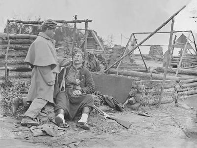 American Civil War Scene of a Deserted Camp and Wounded Zouave Soldier-Stocktrek Images-Photographic Print