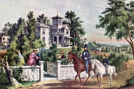 American Country Life, May Morning, 1855-Currier & Ives-Giclee Print