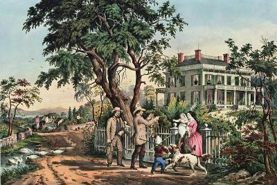 American Country Life - October Afternoon, 1855-Currier & Ives-Giclee Print