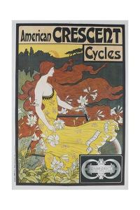 American Crescent Cycles French Advertising Poster