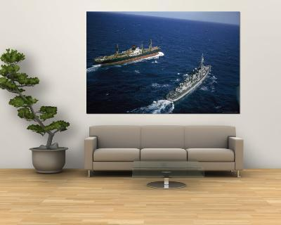 American Destroyer USS Vesole Escorting the Russian Freighter Polzunov Into International Waters-Carl Mydans-Wall Mural