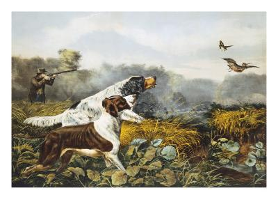 American Field Sports, a Chance For Both Barrels-Currier & Ives-Giclee Print